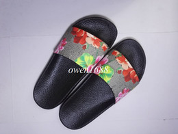 Wholesale Womens Slide Sandals - 2017 womens fashion print flower leather slide sandals girls causal slippers 12 colors