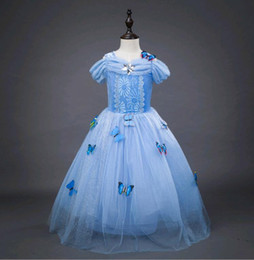 Wholesale Costume Children Cinderella - Off Shoulder Girl Dresses Princess Christmas Children Clothing Cinderella Performance Costume Pleated Kids Party Dress Blue age 3-12 Year