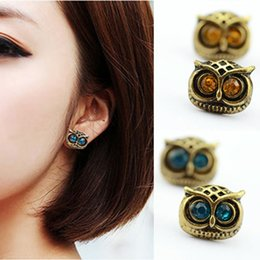Wholesale Antique Jewelry Earing - Bijoux Antique Gold Big Eye Owl Stud Earrings Fashion Jewelry Brincos Crystal Earing 2016 pendientes mujer HOT Selling