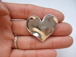 Wholesale Large Love Necklace - Wholesale-10pcs Large Antique Silver Love Heart Shaped Charms Pendants For Necklace Jewelry Making Findings 33x24mm
