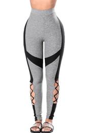 Wholesale Cut Out Black Leggings - Hot Summer Elastic Leggings Black Gray Leg Cut out Yoga Sport clothing Leggings New Women High Waist Leggings