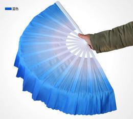 Wholesale Belly Silk Fan - 50pcs lot Free shipping Fashion Gradient color Chinese silk dance fan KungFu FAN Belly Dancing Fans For Wedding Party Gift Favor