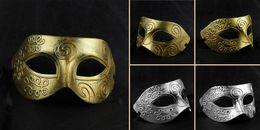 Wholesale Gladiators Masks - Retro Greco-Roman Mens Mask for Mardi Gras Masquerade and Gladiator masquerade Vintage Mask silver Carnival Halloween Masks MOQ:10PCS