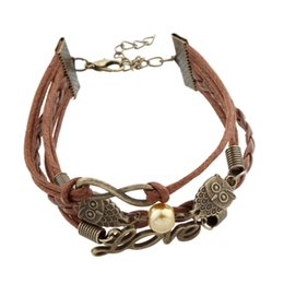 Wholesale Silver Infinity Bracelet Brown - DIY Infinity Antique gold owls charm bracelet Men wax PU leather brown bracelets for father's Day gift