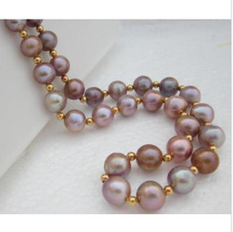 "Wholesale Pink Pearl Necklace 14k - 18"" 9-10mm AAA SOUTH SEA PINK PURPLE PEARL NECKLACE 14K SOLID GOLD"