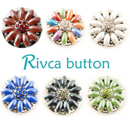 Wholesale Black Onyx Silver Jewelry - Rivca Snaps Button Jewelry Hot wholesale High quality Mix styles 18mm Metal Ginger Snap Button Charm Rhinestone Styles NOOSA chunk D01997