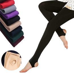 Wholesale Trample Feet Pants - Wholesale- 2016 Autumn winter woman thick warm leggings candy color brushed charcoal Stretch Fleece Pants Trample Feet Leggings