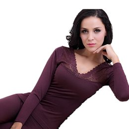 Wholesale Thermal Underwear Set Women - Wholesale- Sexy Women Thermal Underwear Sets Ladies Modal Lace Long Johns Layered Clothing For Women Seamless Warm Pyjama Winter Pajamas