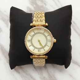 Wholesale Gold Chain Top - Top design Lady female wristwatch with shell dial Steel Bracelet Chain gold Women watch Dress Watch with shine Diamond Japan Movement