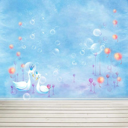 Wholesale Photo Bubbles - Baby Newborn Sky Blue Photo Booth Background Bubbles Swans Colored Dandelion Children Kids Photography Backdrop Wooden Planks Floor