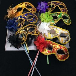 Wholesale Gold Masquerade Masks Flowers - New Party Masks Gold Cloth Coated Flower Side Venetian Masquerade Party Mask On Stick Carnival Halloween Costume Mix Color Free Shipping