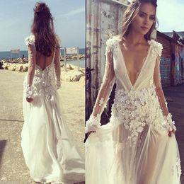 Wholesale T Shirt V Collar - Sexy Bohemia Wedding Dress Deep V Neck 3D Floral Applique Beading Long Sleeves Backless A Line Wedding Gowns Custom Made Bridal Dresses