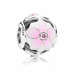 Wholesale Silver Crystal Bracelet - Authentic 925 Sterling Silver Bead Charm Enamel Magnolia Bloom With Crystal Beads Fit Women Pandora Bracelet Bangle DIY Jewelry HK3729