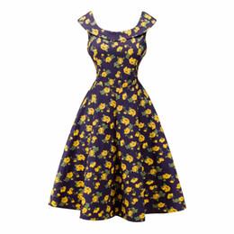Wholesale Big Swing - Audrey Hepburn Dress Plus size 2017 Fashion Retro Vintage 1950s 60s Floral Printed Robe Femme Women Big Swing Summer Dresses
