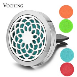 Wholesale Car Essential Oil Diffuser Locket Vent Clip L Stainless Steel Pendant Flower Magnetic without Felt Pads VA