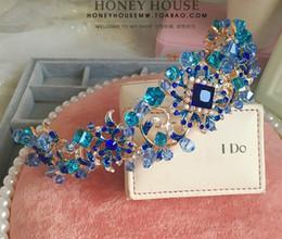 Wholesale Semi Precious Crystals Stones - DG Blue Crystal handmade bride, Baroque tiara, wedding accessories wholesale, free delivery