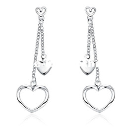 Wholesale Valentine Ladies Jewelry - PATICO Valentines Jewelry 100% Genuine 925 Sterling Silver Double Layered Hear Woman Lady Tassel Stud Earrings Ear Accessory