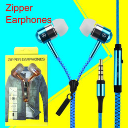 Wholesale Earphones Mic Retail - Zip in-ear 3.5mm earphone with mic metal buds zipper headset headphone for MP3 iphone 6 plus Ipod Samsung htc with retail box