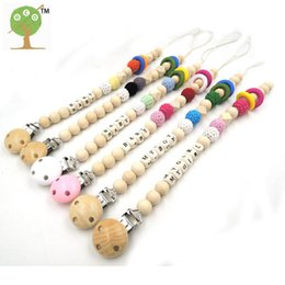 Wholesale Toddler Wooden Beads - Wholesale-Colorful wooden ring toddler mint crochet wooden geometric beads baby pacifier clip dummy holder safe baby gift NT192