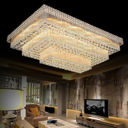 Wholesale Vintage Fluorescent Light - LED ceiling chandeliers factory prices luxury noble gorgeous high end K9 crystal chandelier hotel hall stairs villa led chandeliers lights