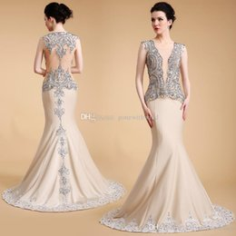 Wholesale Short Crystal Bodice Prom Dresses - sexy illusion bodice mermaid evening dresses 2017 Arab Dubai heavily embroidery crystals beaded jewel neckline sweep train evening gowns