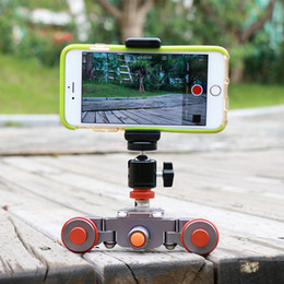 Wholesale Tracks Motorized - Wholesale- Ulanzi Flexible Motorized Electric dolly 3-Wheel Pulley Car Rail Rolling Track Slider for iPhone DSLR Camera Camcorder Cellphone