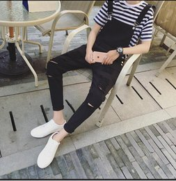 Wholesale Denim Overall Men - Wholesale- Spring personality Mens slim big hole ripped jumpsuit denim jean overalls black white bib pants