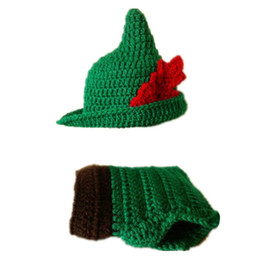Wholesale Photo Pan - Crochet Peter Pan Costume,Handmade Crochet Baby Boy Girl Peter Pan Hat and Diaper Cover Set,Infant Halloween Costume,Newborn Photo Props