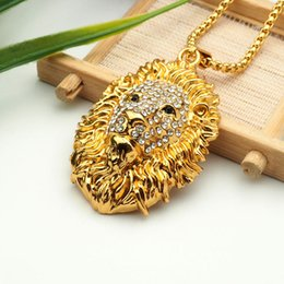 Wholesale Lion Pendant For Men - crystal lion pendant necklace hip hop gold plated necklaces with chain jewelry for men or women item number hps031