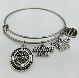 Wholesale Military Plates Metal - My Shape United States Marine Mom Charm Bangle Stainless Steel Metal Expandable Wire Military Bangle Freedom Is Not Free
