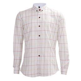 Wholesale Light Brown Shirt Men - Wholesale- HOT SALE High Quality Business Shirt Light Plaid Shirt Men Long Sleeve Casual Slim Fit Men Dress Shirts