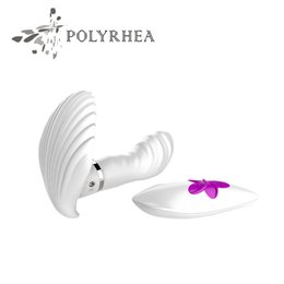Wholesale Sex Materials Women - Pretty Love Sex Toys For Women Silicone Material Women Sexy Shell Harness Strapless Remote Control Penis Vibrator Sex Tools For Sale