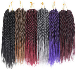 "Wholesale Synthetic Hair Extensions Burgundy - 20 strands 12"" 16"" 18"" 20"" 22"" Synthetic Crochet Braids Hair For Braiding Kanekalon Fiber Senegalese Havana Twist"