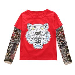 Wholesale Tattoo Girls Hot - 2017 5 style Ins Hot Baby Boy Girl Animal Letter picture Top Long sleeves Hip tattoo sleeve splicing Children clothing Free shipping