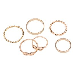 Wholesale Cute Simple Rings - New Exquisite 6pce set Simple style geometry cute rosette plated Rose Gold Ring Finger Rings gift for women &girls