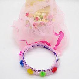 Wholesale Pink Veil For Children - 2017 Fashion Kids Flower Lace Veil Floral Headband Princess Garland Set for Wedding  Celebrate Party Children Day Veil Headband Decoration