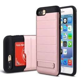 Wholesale Hard Plastic Credit Card Case - Fashion Credit Card Slot Case Stand Cover for iPhone 7 Plus Soft TPU Hard Plastic Hybrid Armor Shell Case for iPhone 6 6S Plus