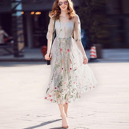 Wholesale chiffon heavy - Summer Fashion Women Dress Women's New Heavy Industrial Flowers Embroidered The Dresses of the famous Womens Clothing Apparel