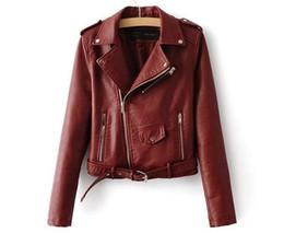 Machine de moto en Ligne-Gros détail 2018 printemps Haute qualité lavage de l'eau PU veste en cuir Femmes vêtements machine moto court Veste mince femmes manteau