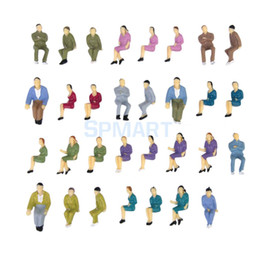 Wholesale Ho Scale Model Figures - Wholesale- 50pcs Painted Model Train HO Seated People Passengers Figures 1:50 O Scale