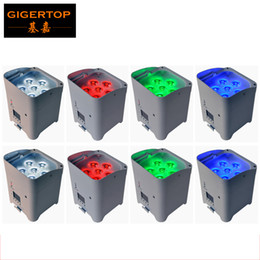 Wholesale wireless led bar lights - TIPTOP 8XLOT DJ Freedom Par 6 Color RGBWA UV Battery Powered Wireless LED Washer Light 6 X 6W High Power Bright Mini Aluminum Stage UV Bar