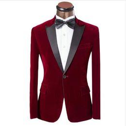 Wholesale Red Velvet Shawls - One Button Dark Red Velvet Groom Tuxedos Groomsmen Men's Wedding Prom Suits Custom Made (Jacket+Pants+Girdle+Tie) K:231 AOP--014