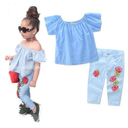 Wholesale Wholesalers Sell Girls Clothing - Europe and America new styles Hot selling girl Summer 2 pieces set Strapless tops+ Rose printed pants clothing girls Cotton sets 3-7T