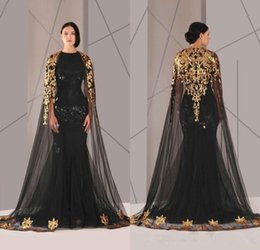 Wholesale Moroccan Gold - Formal Mermaid Evening Dresses With Cape arabic kaftan abaya moroccan Gold Lace Applique Wrap Evening Gown Celebrity Red Carpet Dresses