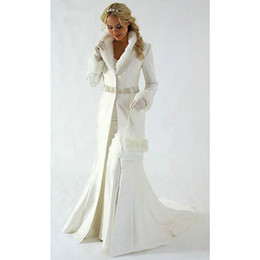 Wholesale Long Fur Trimmed Wedding Cape - Custom made 2017 winter warm wedding coat Faux Fur Trim Long for Bride Winter Wedding wrap Cape coat wedding accessories