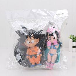 bola de dragão chichi Desconto As Figuras 15 cm 2Pcs / Set Dragon Ball Z Acção Figura Goku Chichi Infância PVC Figuras Modelo Brinquedos