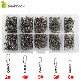Wholesale Wholesale Brass Swivels - 210pcs Rolling Fishing Swivel With Nice Snap Brass With Black Nickle Rolling Swivels Hard Fishing Lures Connector Set With Box