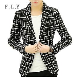 Wholesale Blaser Mens - Wholesale- bleiser masculino blaser suit blazer casual suits mens jacket slim fit stripe veste homme banquet jaqueta male