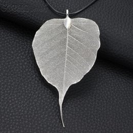 Wholesale Natural Leaf Necklace - DZ0223d New Arrivals 5pcs lot 5Colors Bodhi leaf Multi Styles Plated Natural Leaf necklace pendant for Women