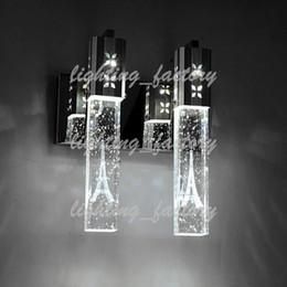 5 Вт LED Кристалл пузырь настенный светильник Кристалл цилиндр форма колонки гостиная настенный светильник зеркало свет RGB теплый белый люстра свет WAH-280 cheap crystal lighted columns от Поставщики хрустальные колонны